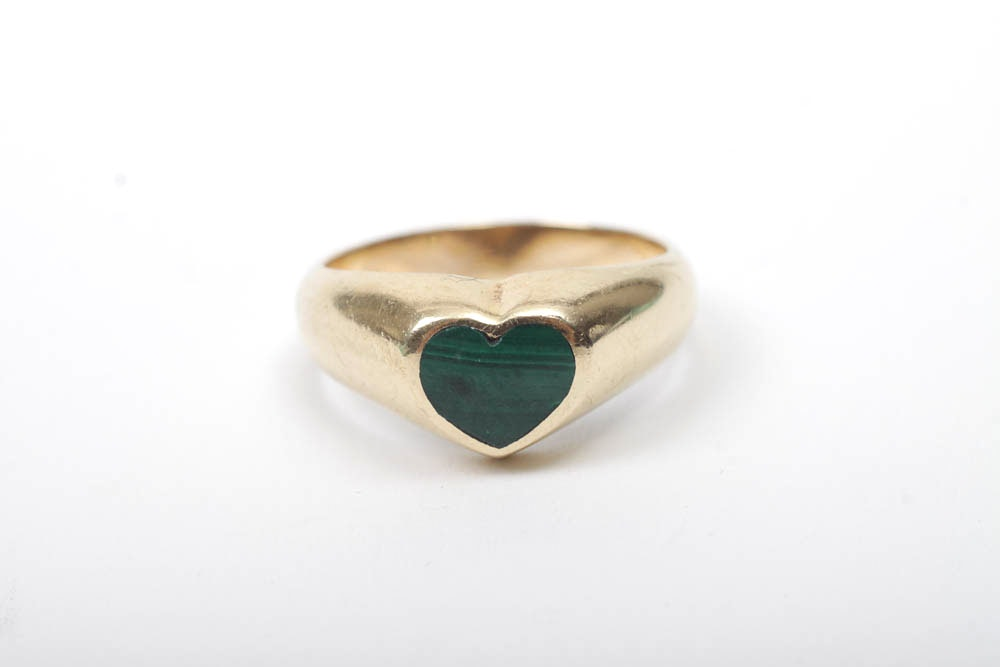 14K Gold Ring with Malachite Heart