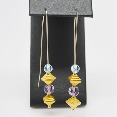 14K and 18K Yellow Gold, Amethyst, Aquamarine and Pyramid Bead Pierced Earrings