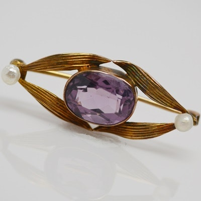 Antique Art Nouveau 14K Yellow Gold Amethyst and Seed Pearl Brooch
