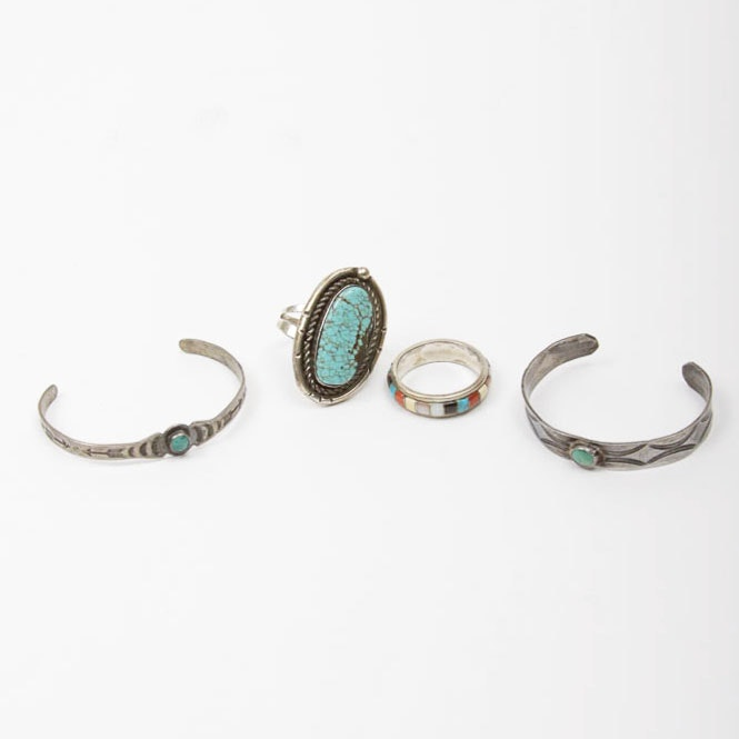 Pair of Sterling Silver Bracelets and Two Sterling Rings with Stones
