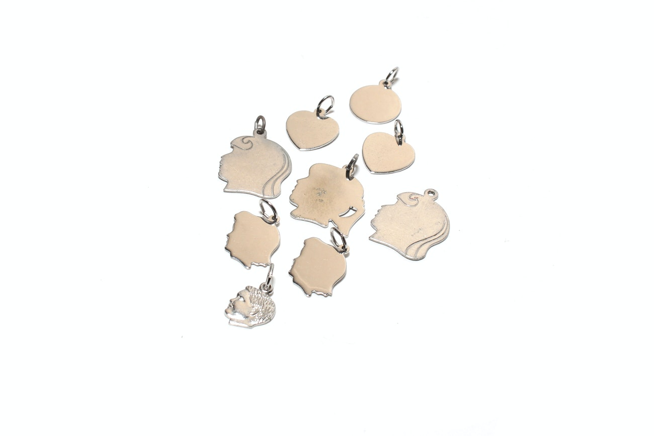 Large Assortment Of Blank Sterling Silver Charms
