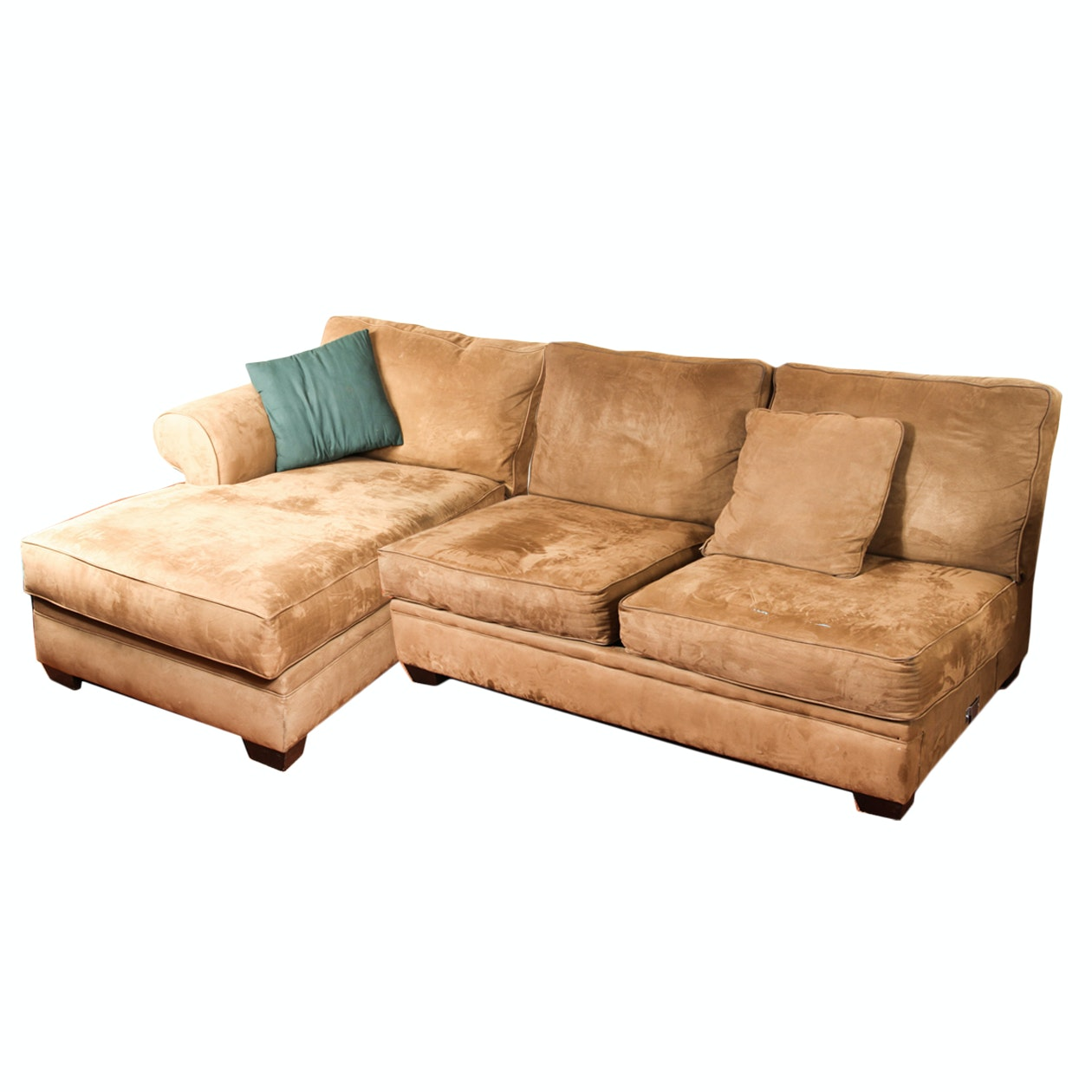 Tan Suede Sectional with Chaise