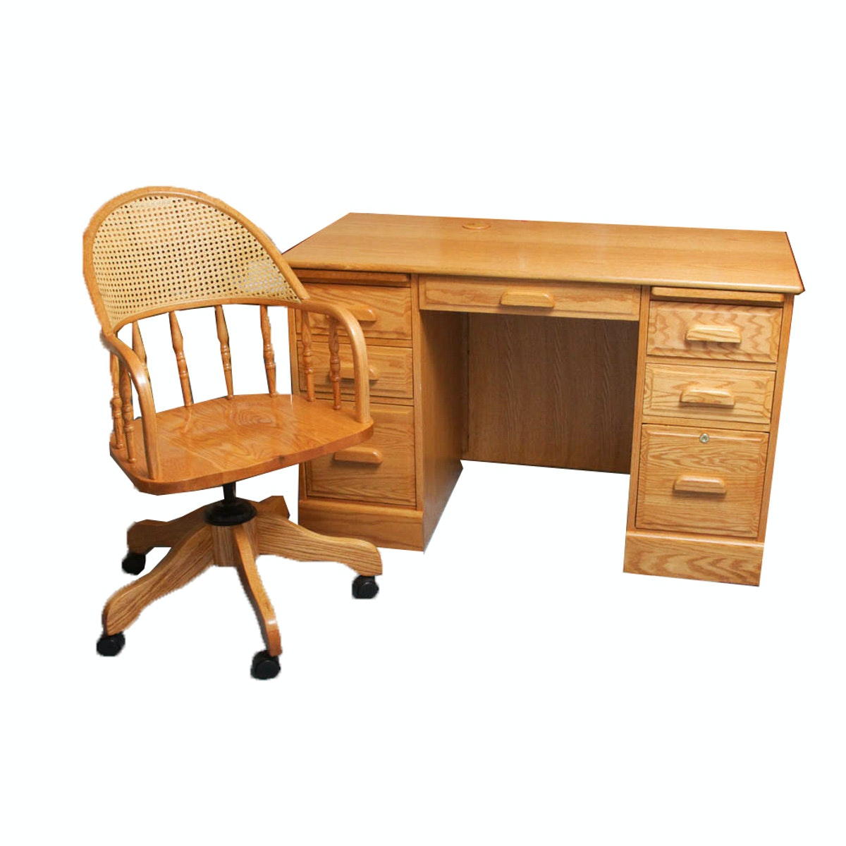 """Woodley's """"WinnersOnly"""" Quality Oak Desk and Oak and Rattan Office Chair"""