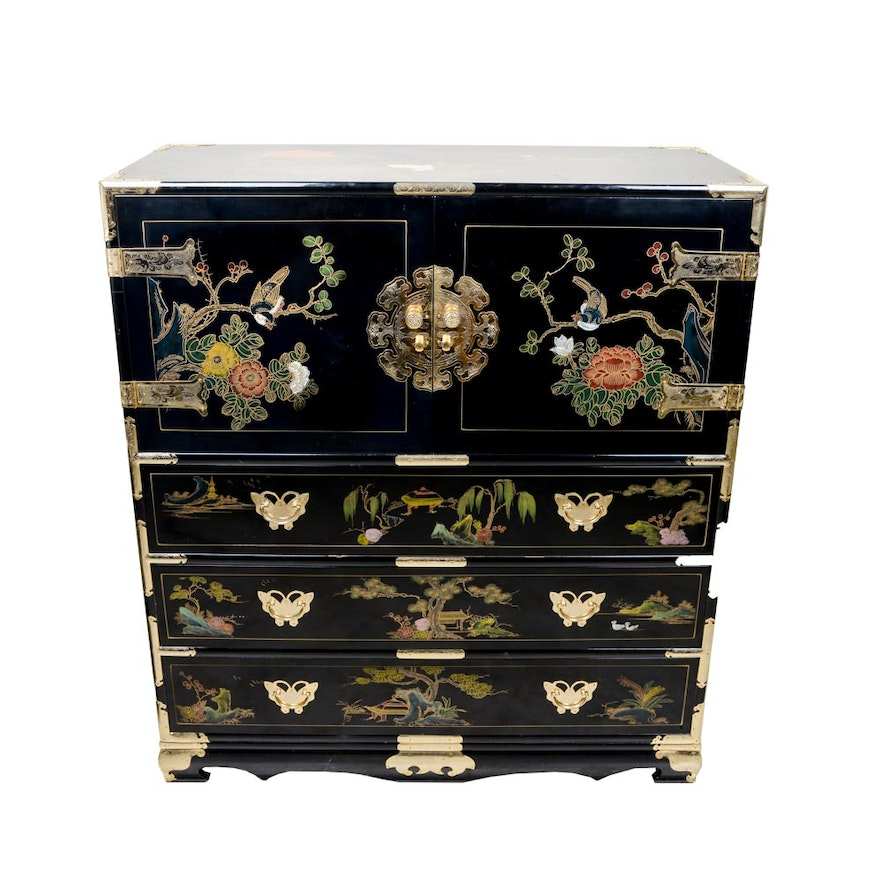 Unique Mother Of Pearl Cabinet: Chinoiserie Cabinet With Mother Of Pearl Inlay