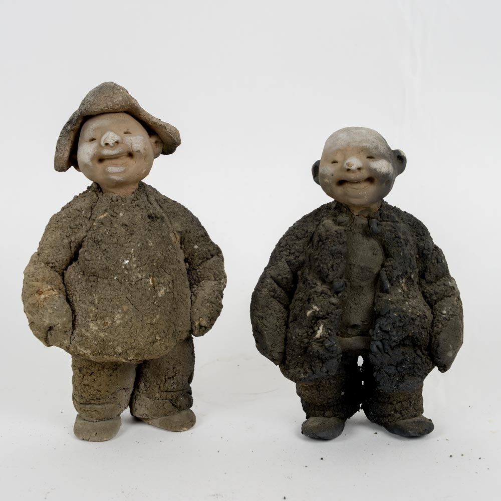 Two Clay Sculptures by Yu Qing Chang