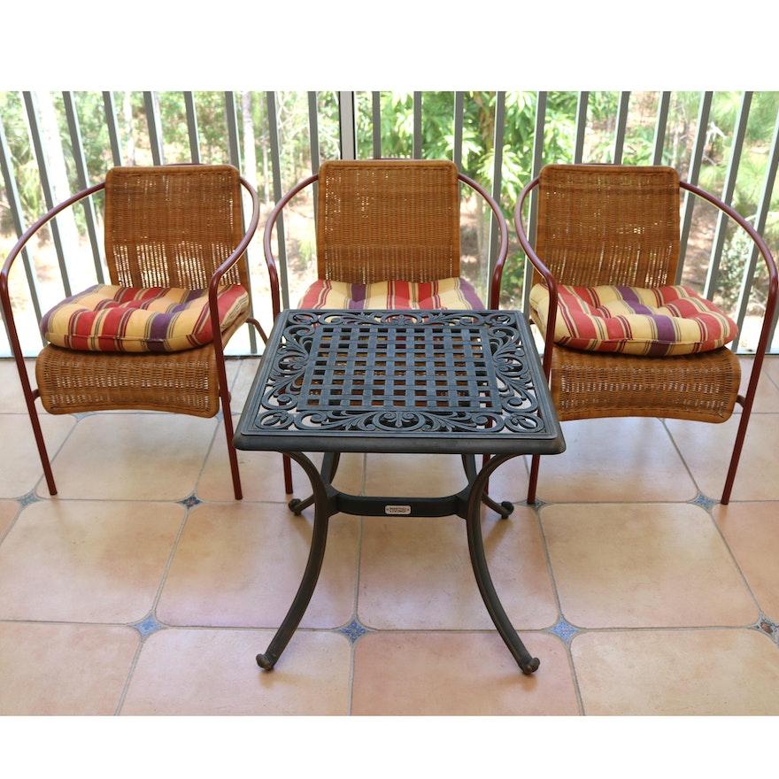 Astonishing Martha Stewart Living Iron Patio Table With Three Wicker Chairs Download Free Architecture Designs Ferenbritishbridgeorg