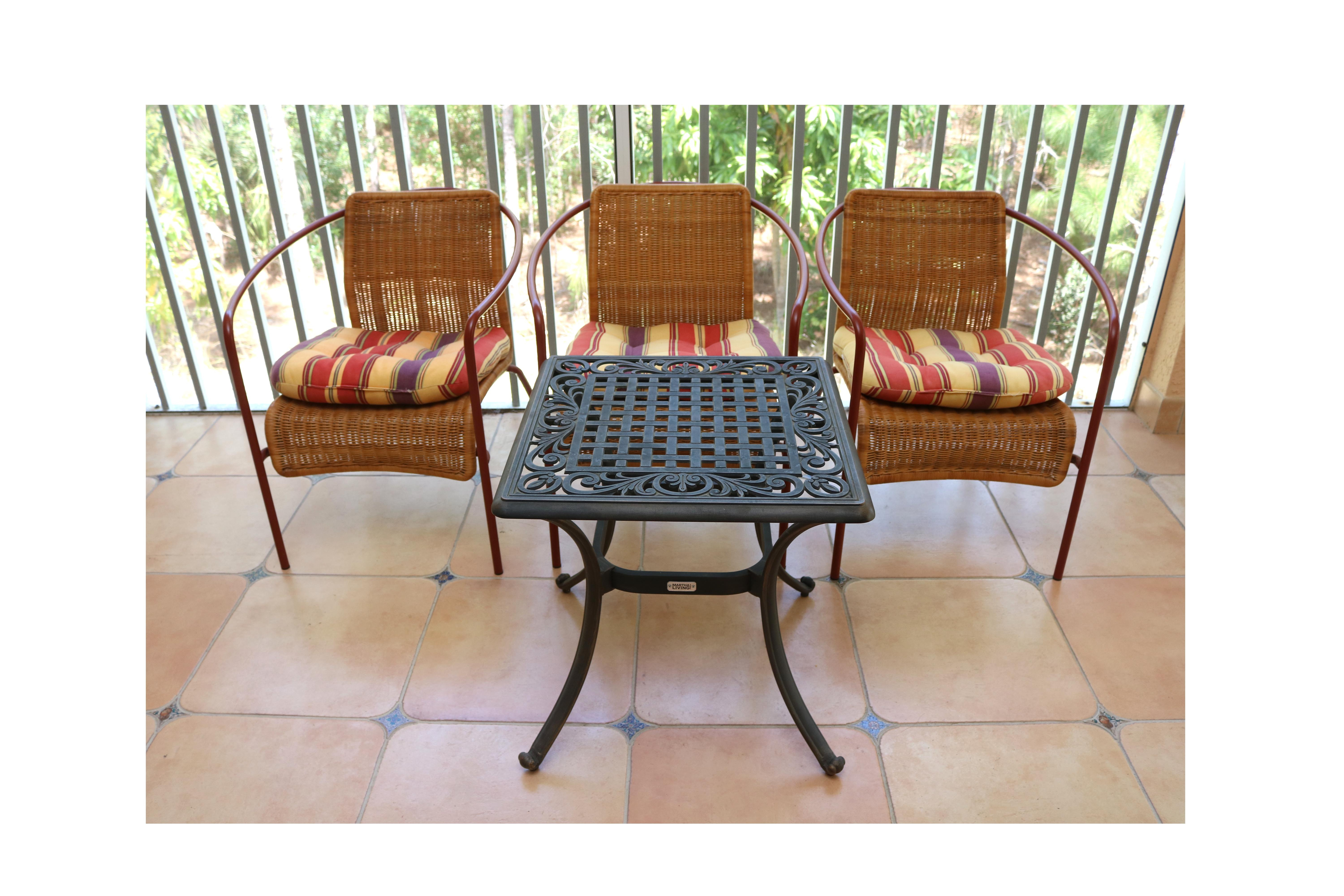Martha Stewart Living Iron Patio Table With Three Wicker Chairs ...