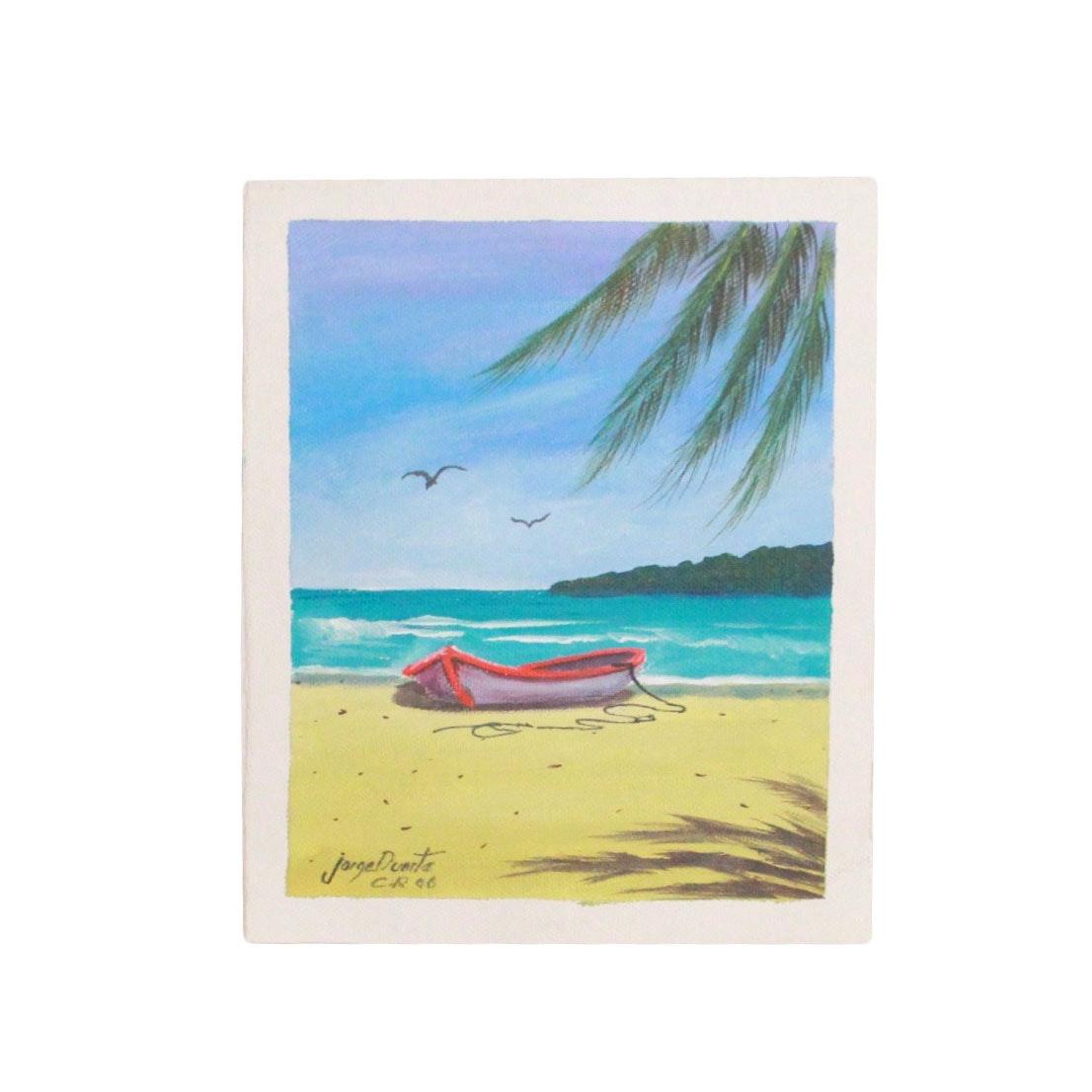 Jorge Duarte 1990s Acrylic on Canvas of Tropical Maritime Scene