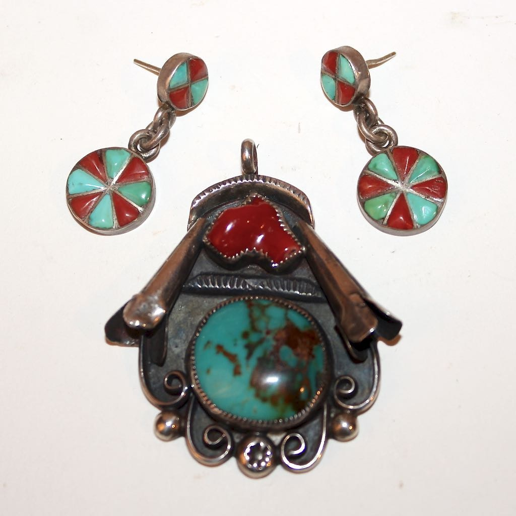 Sterling with Turquoise and Coral Navajo Squash Blossom Pendant + Earrings