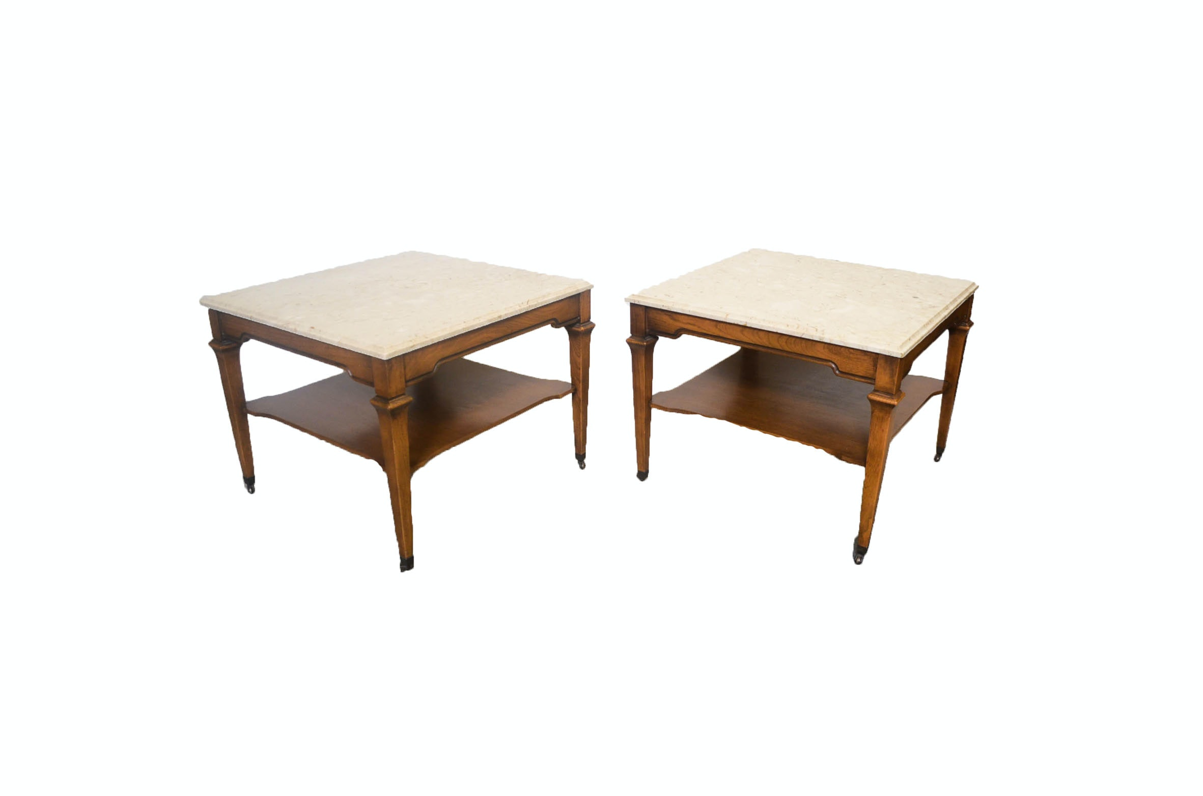 Pair of Mid Century Marble Top Side Tables
