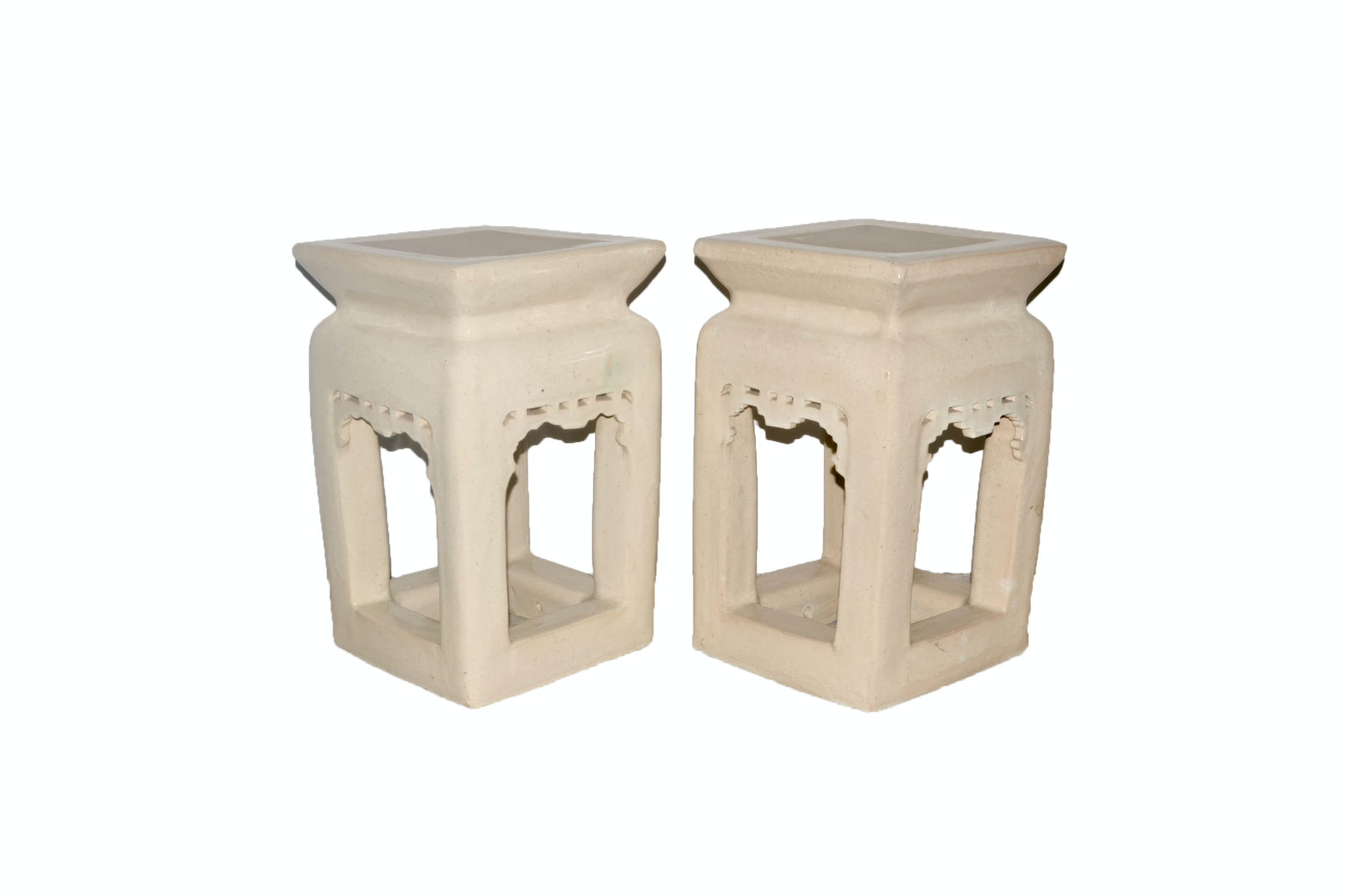 Pair of Small Ceramic Side Tables