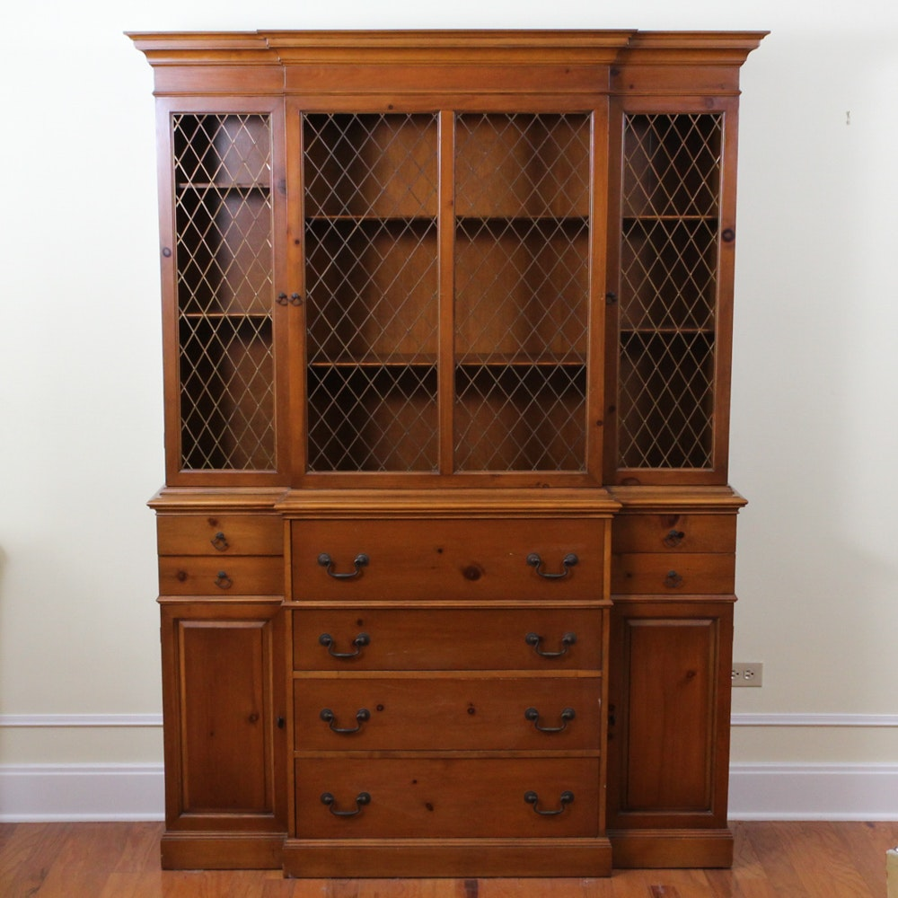 Pine Breakfront China Cabinet by Colonial Manufacturing Co.