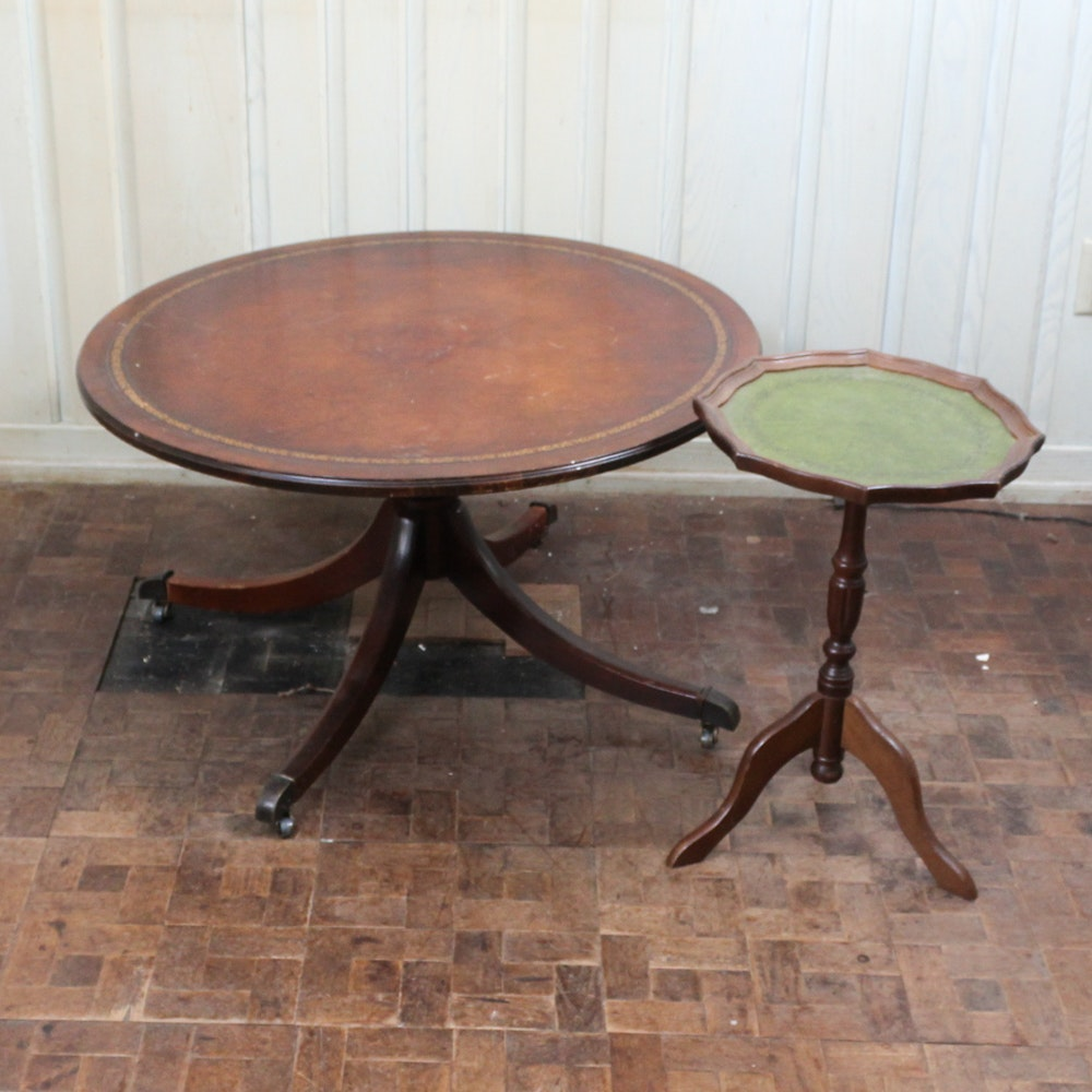 Vintage Round Mahogany Leather Top Coffee Table ...