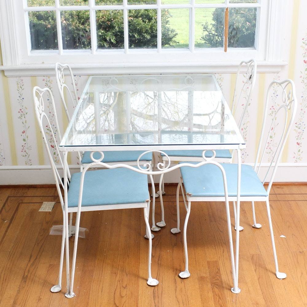 Bent Metal Glass Top Table and Chairs