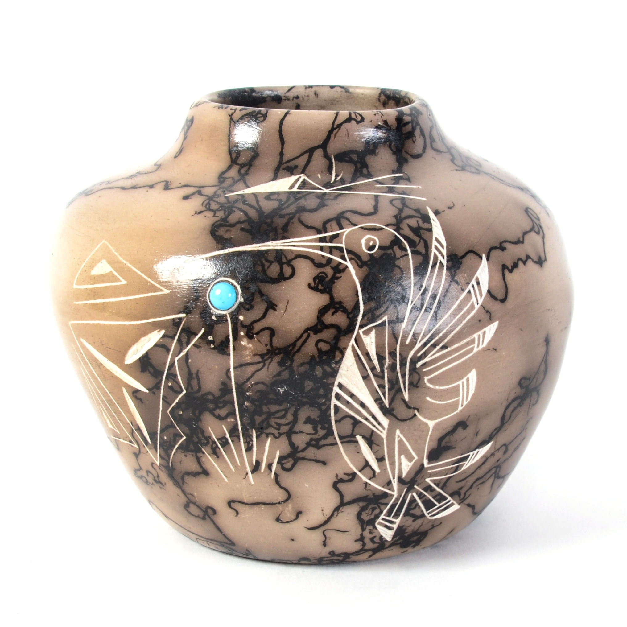 Native American Style Horsehair Pottery Vase