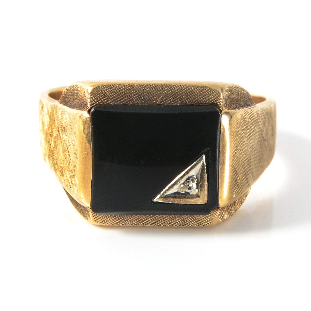 10K Gold, Onyx and Diamond Ring