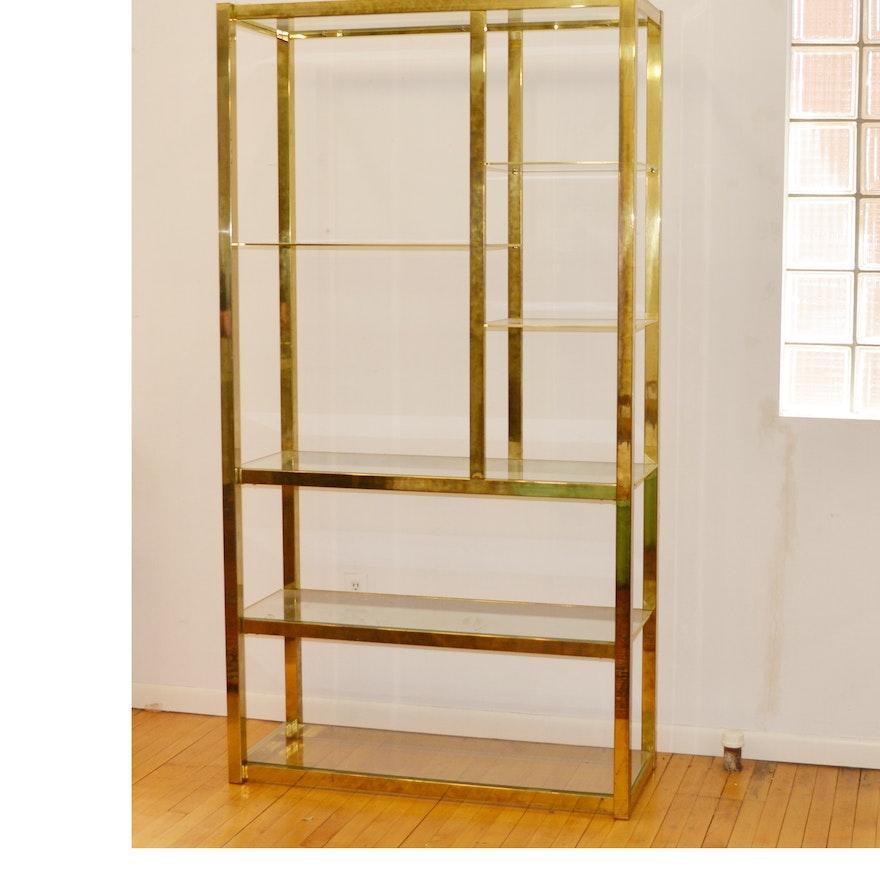 Brass Tone Metal and Glass Shelving Unit : EBTH