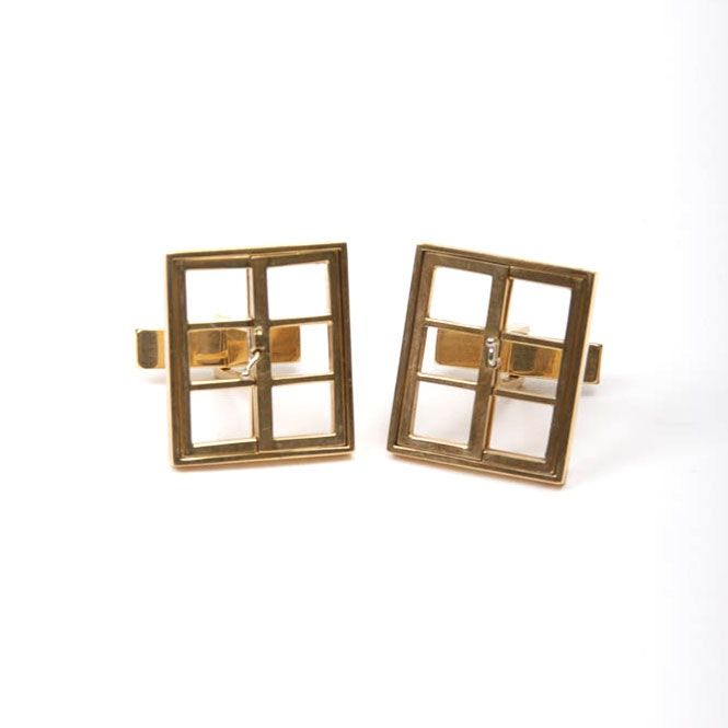 14K Yellow Gold Cuff Links with Miniature Working Windows