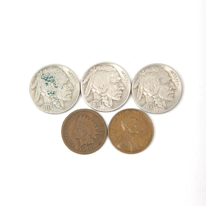 Group of Buffalo Nickels, a Wheat Penny and an Indian Head Penny