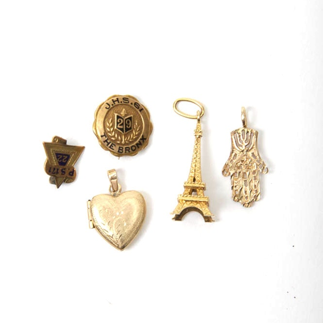 Group of Yellow Gold Pendants And Pins