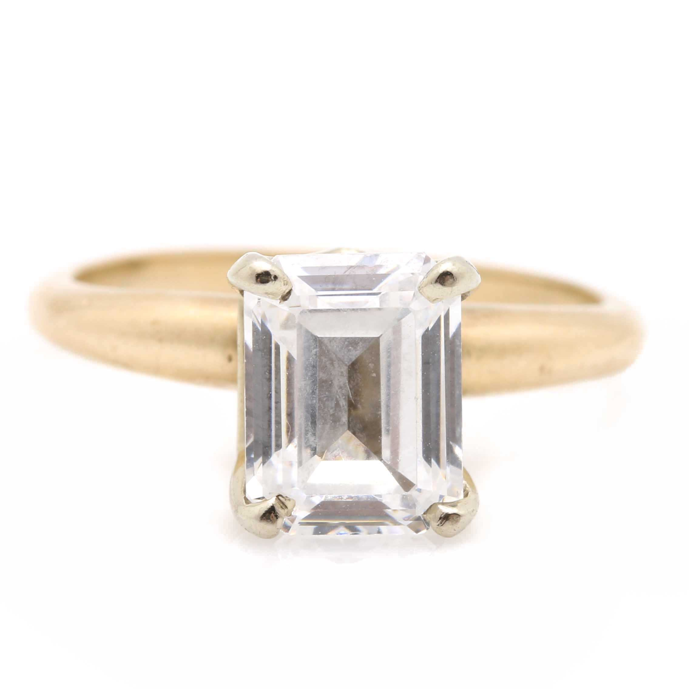 14K Yellow Gold Solitaire Cubic Zirconia Ring