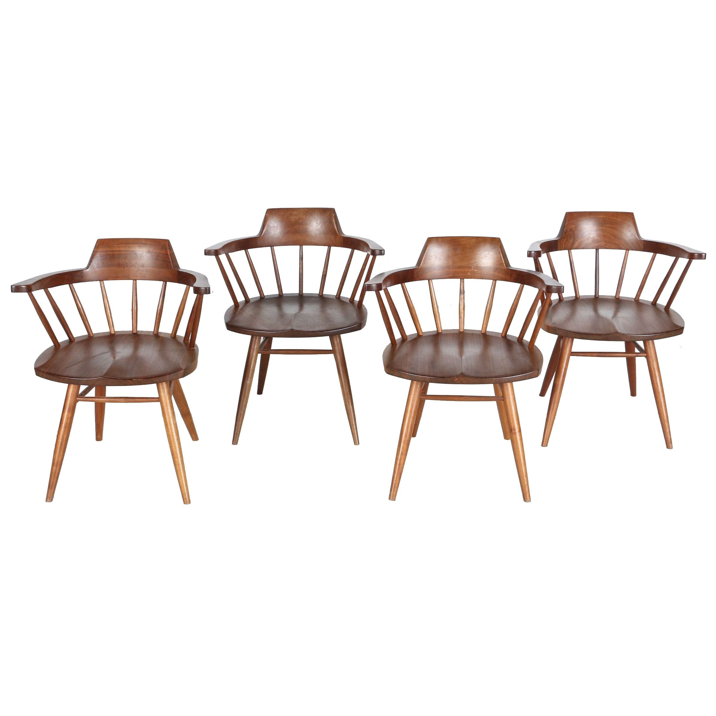 Vintage Nakashima Walnut Dining Armchairs With Provenance