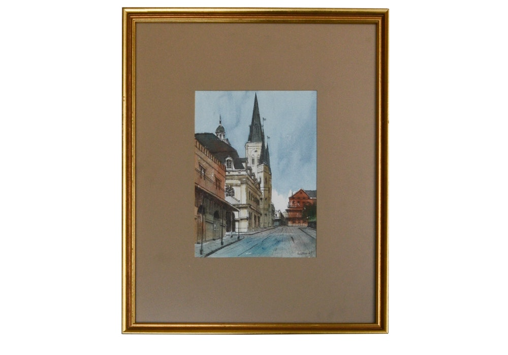 "M. Dell Weller Hand-Colored Print Titled ""Rue Chartres"""