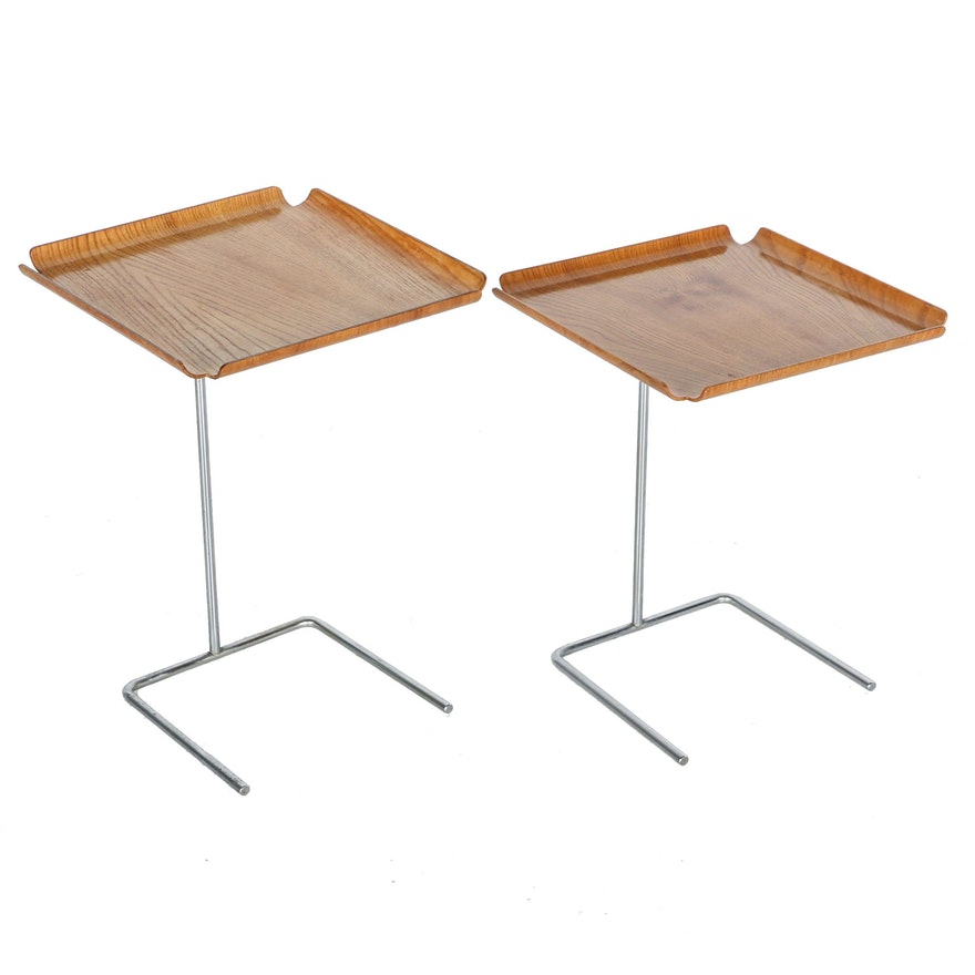 """Mid Century Modern """"4950"""" Bentwood Tray Tables by George Nelson for Herman Miller With Invoice"""