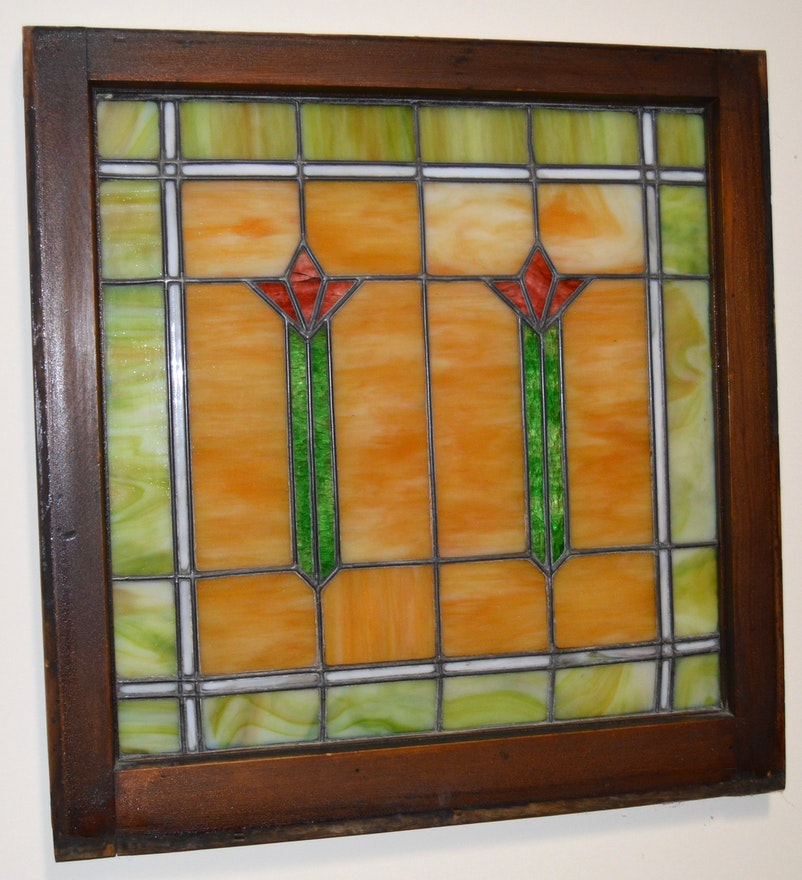 Arts and crafts style stained glass window ebth for Arts and crafts glass