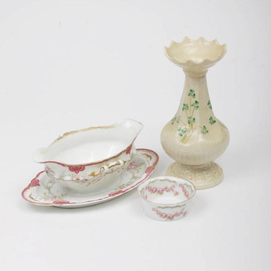 Belleek Vase And Limoges Dishes Ebth