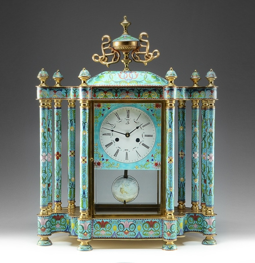 Chinese Handcrafted Cloisonne Enamel Clock