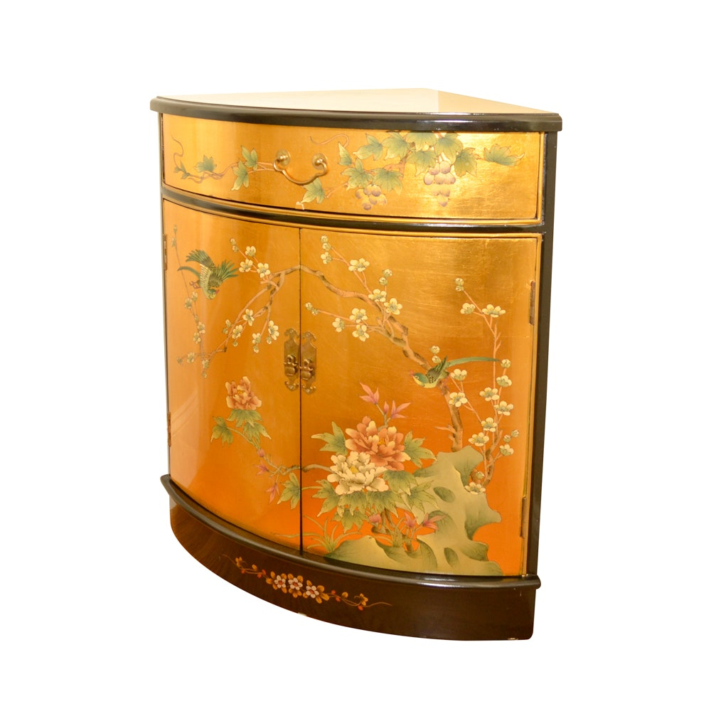 Chinese Inspired Corner Cabinet With Lacquered Finish