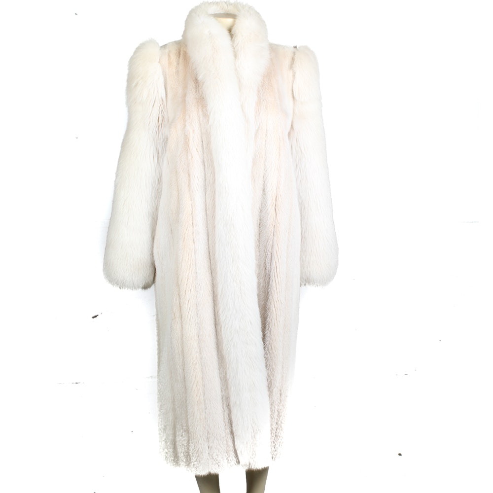 Danish Full Length Tourmaline Mink Coat With Fox Fur Trim