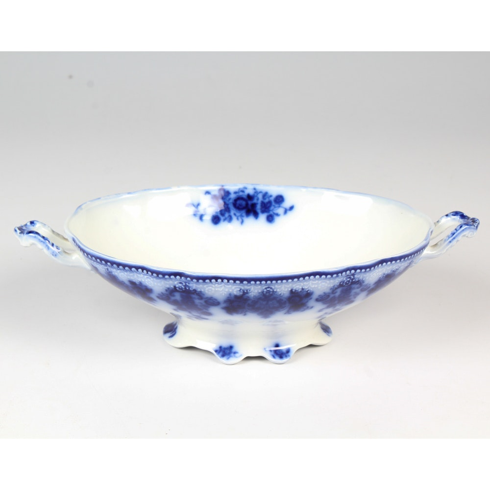 Antique English W.H. Grindley Flow Blue Footed Serving Bowl