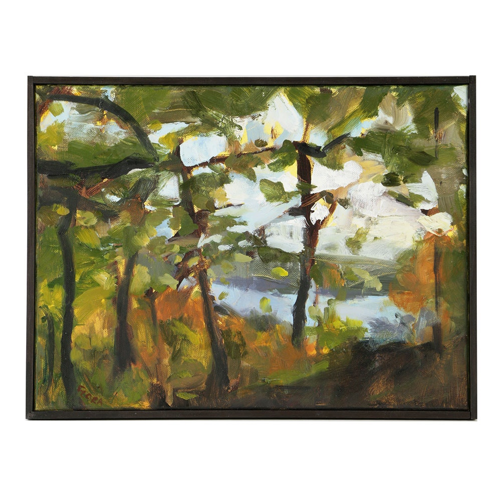 "Kim Flora Oil Painting on Canvas ""Eden Park Study (of the Ohio River) """