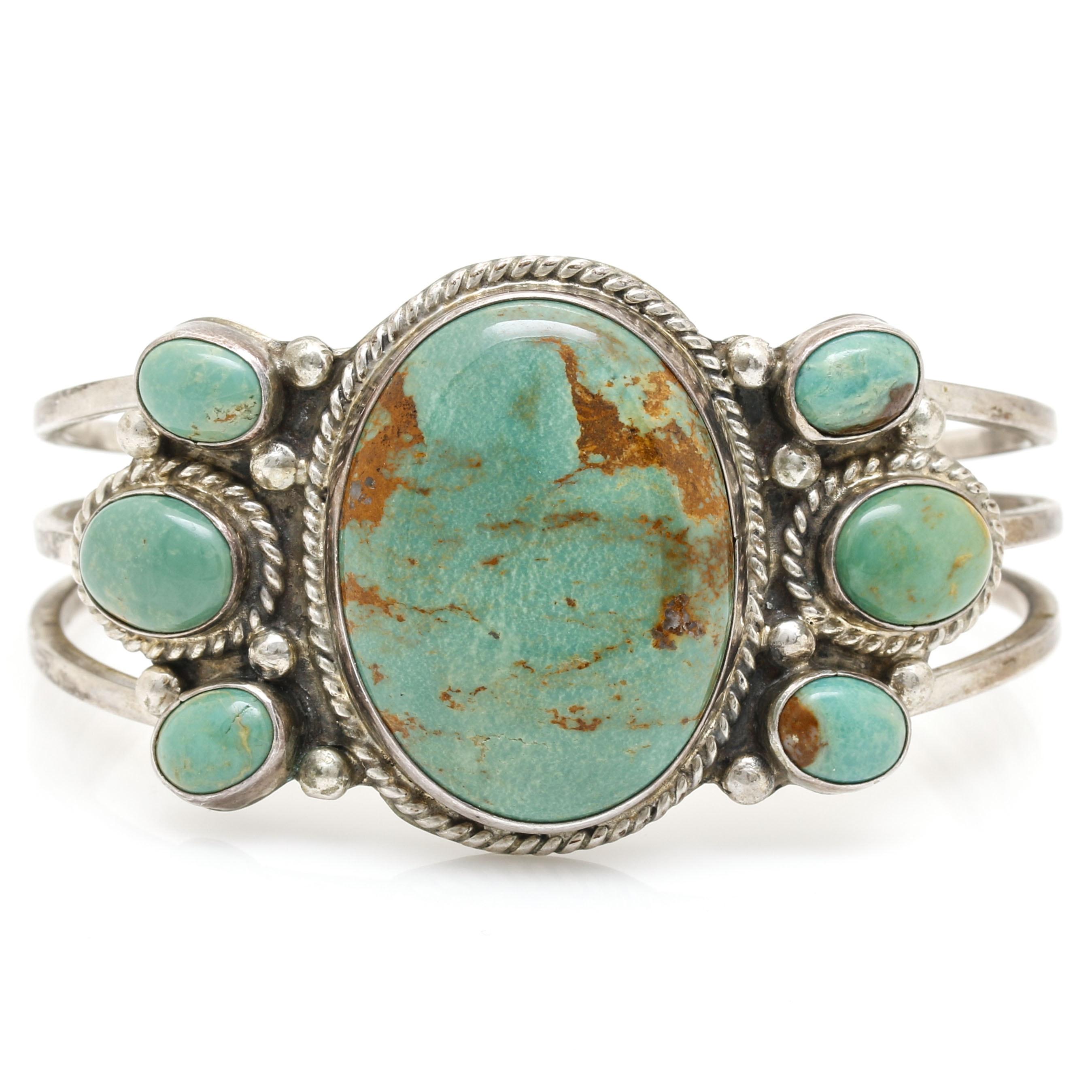 Tina Benally Navajo Sterling Green Turquoise Cuff