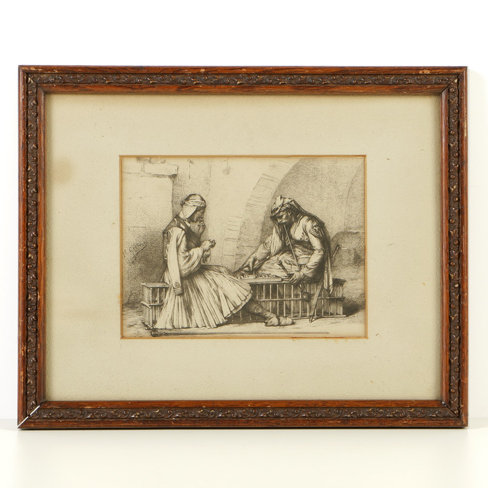 "After Jean-Louis Gérôme Etching ""Arnauts Playing Draughts"" in a 19th-Century Carved Wooden Frame"