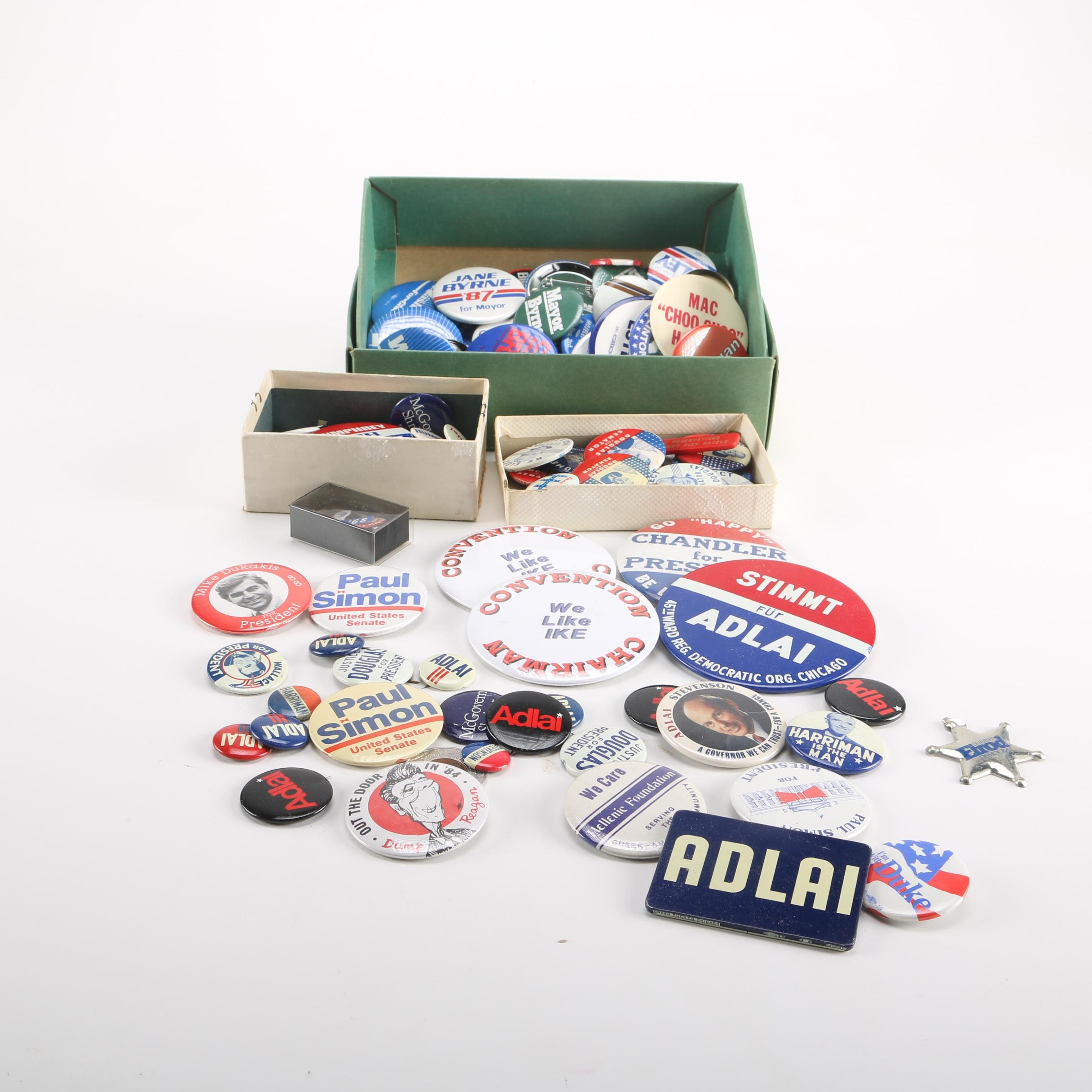 Collection of Vintage and Contemporary Political Pins