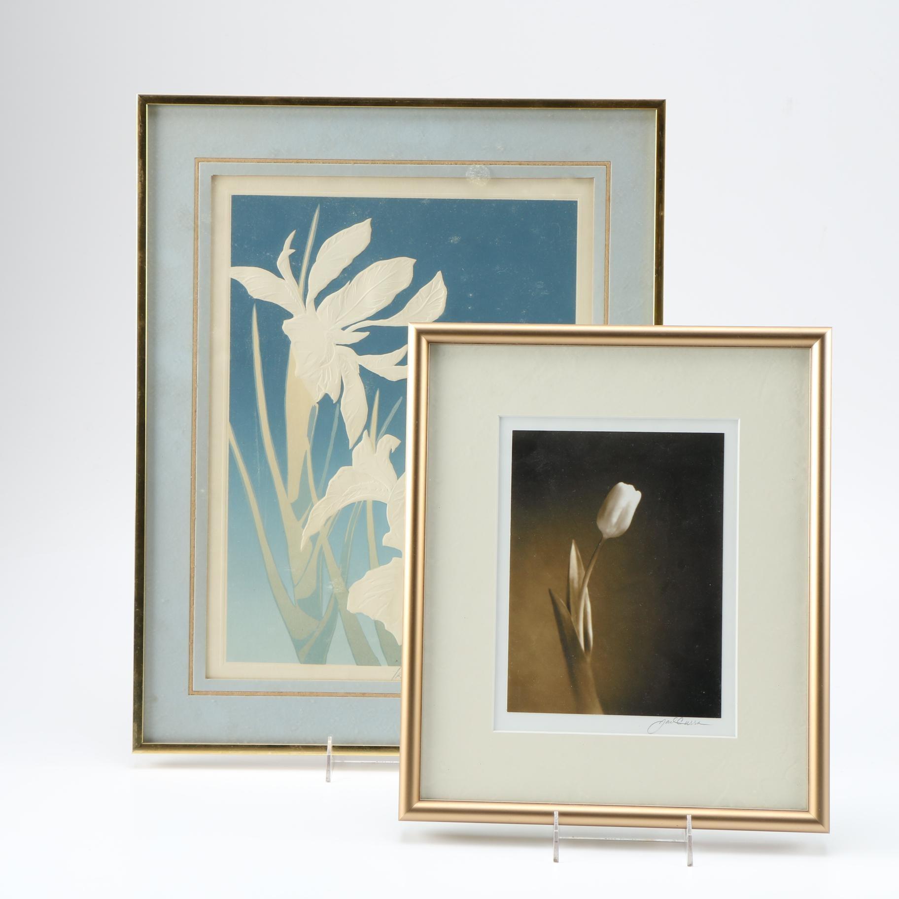 "Floral Themed Prints Including David Allgood Embossed Serigraph ""Iris"""