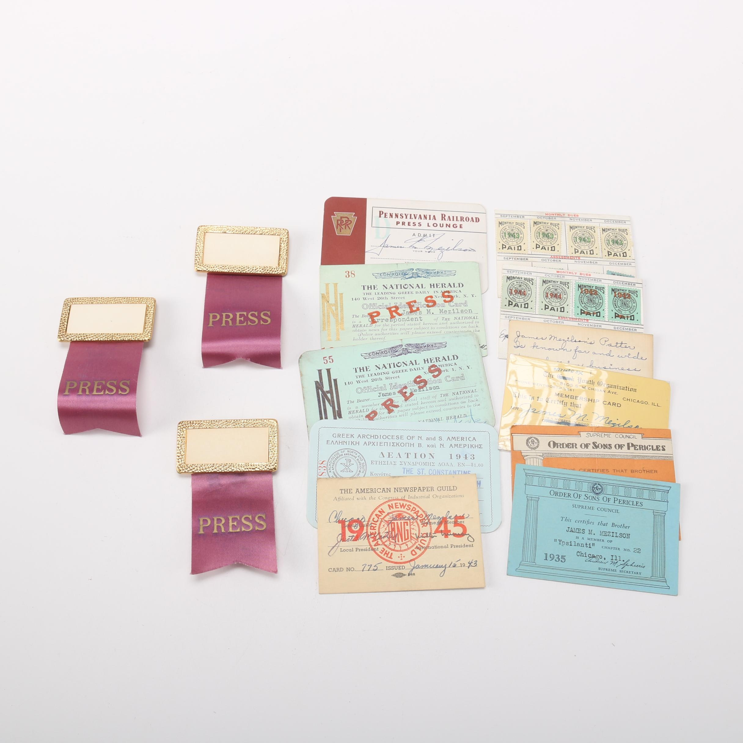 Press Passes From Various States and Pins
