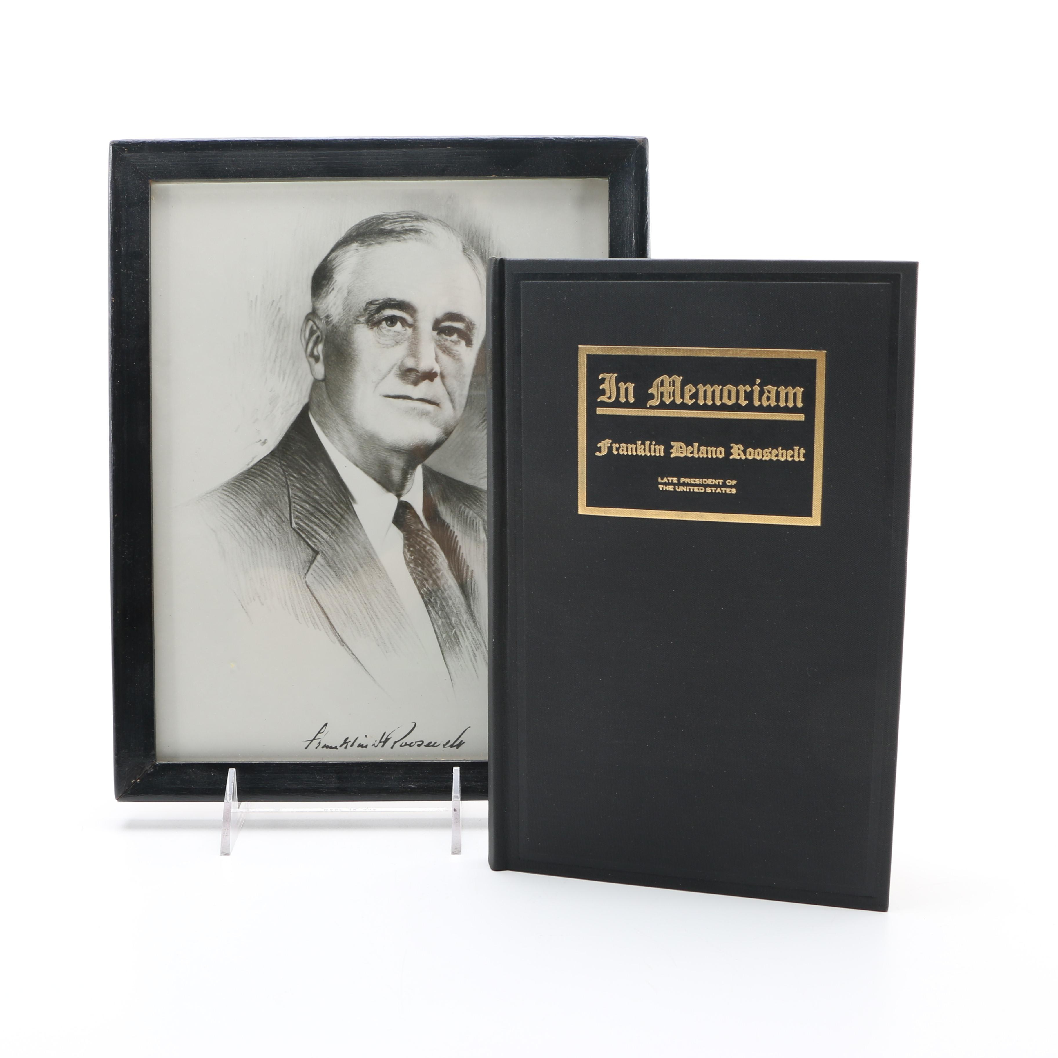 """Leon Perskie Offset Lithograph """"Franklin D. Roosevelt"""" and Bound Memorial Address"""