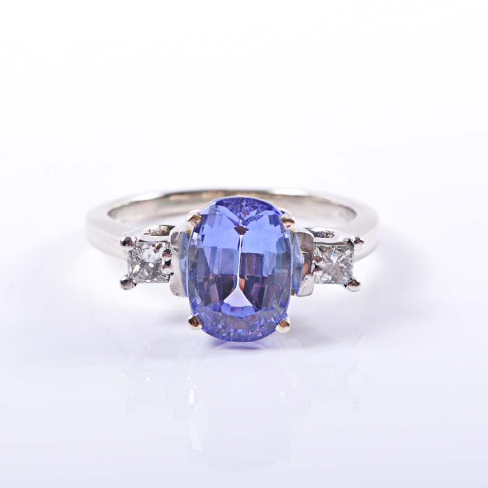 14K White Gold 3.30 Carat Tanzanite and Diamond Trellis Ring