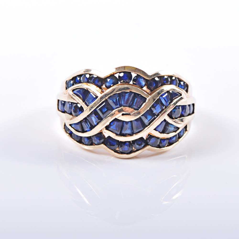 10K Yellow Gold 2.20 CTW Sapphire Overlapping Ring