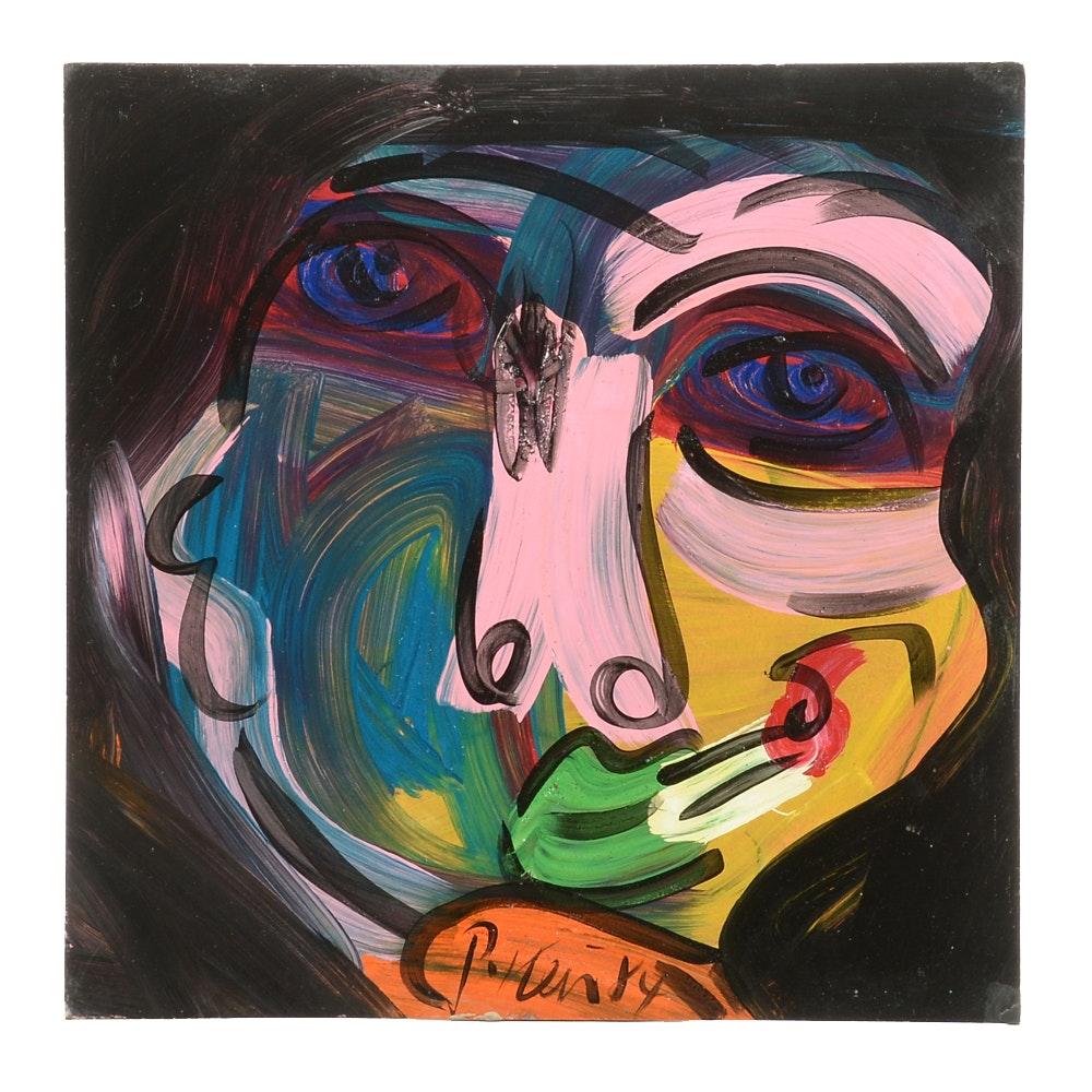 "Peter Keil Original 1984 Expressionist Oil on Masonite ""Magier"""
