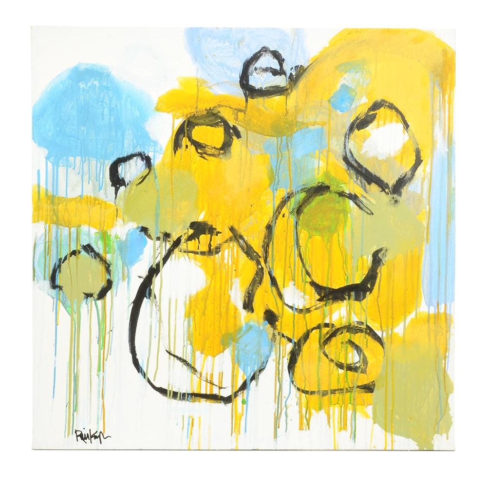 "Robbie Kemper Original Abstract Acrylic on Canvas ""Blue Yellow Green Black Circles"""