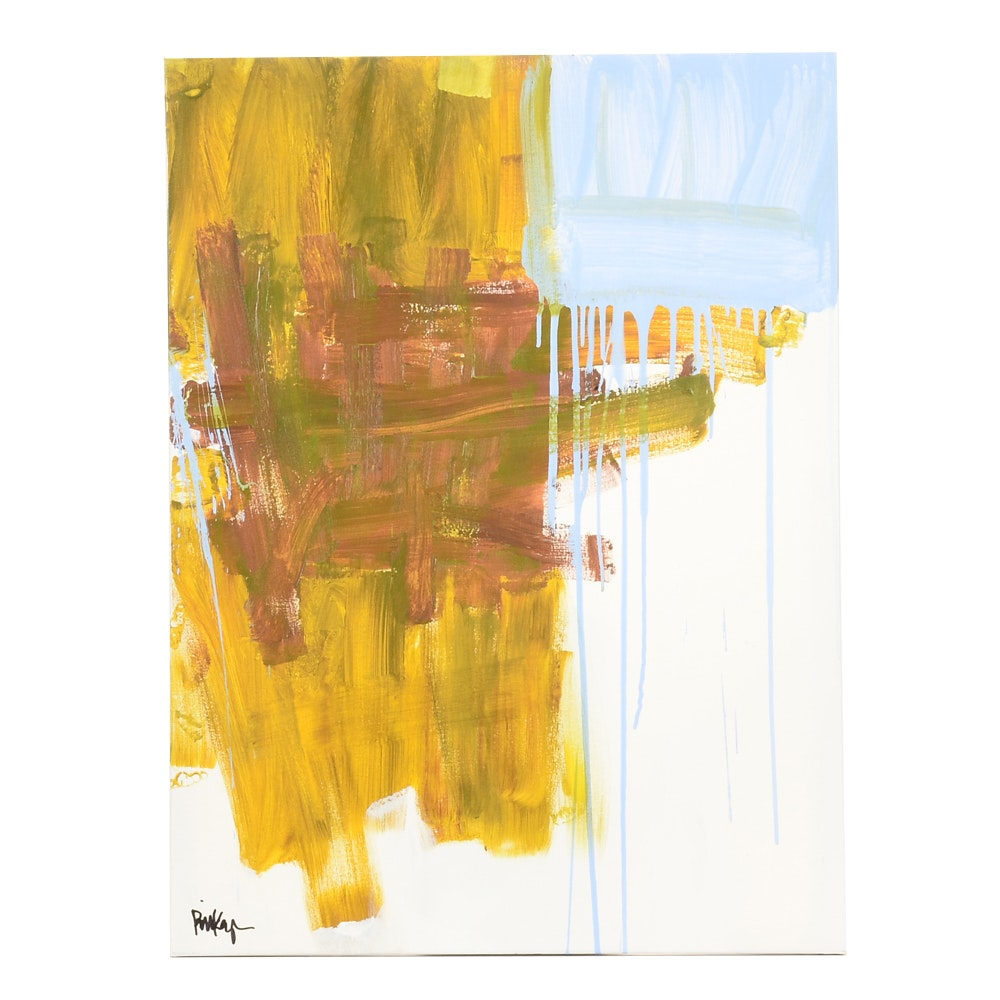 "Robbie Kemper Original Abstract Acrylic on Canvas ""Yellow, Blue"""