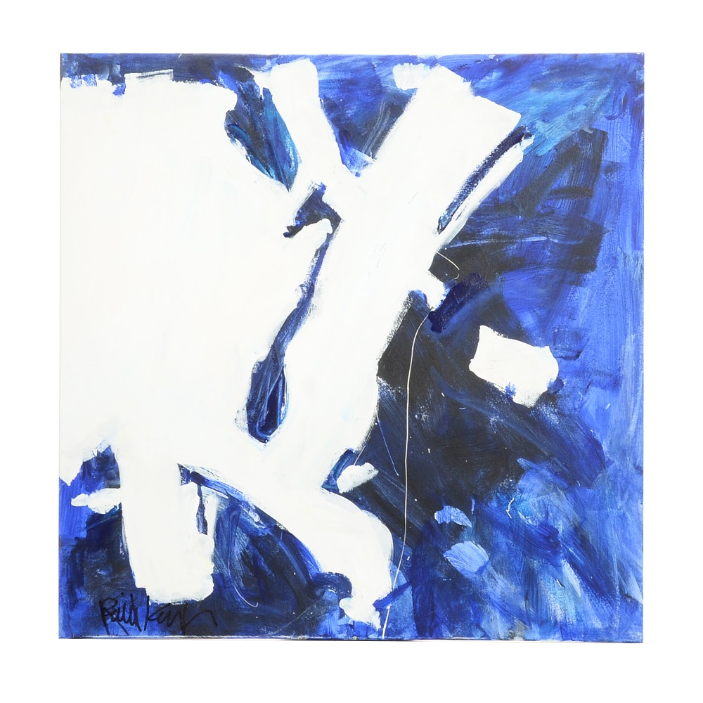 "Robbie Kemper Original Abstract Acrylic on Canvas ""White Marks in Blues"""