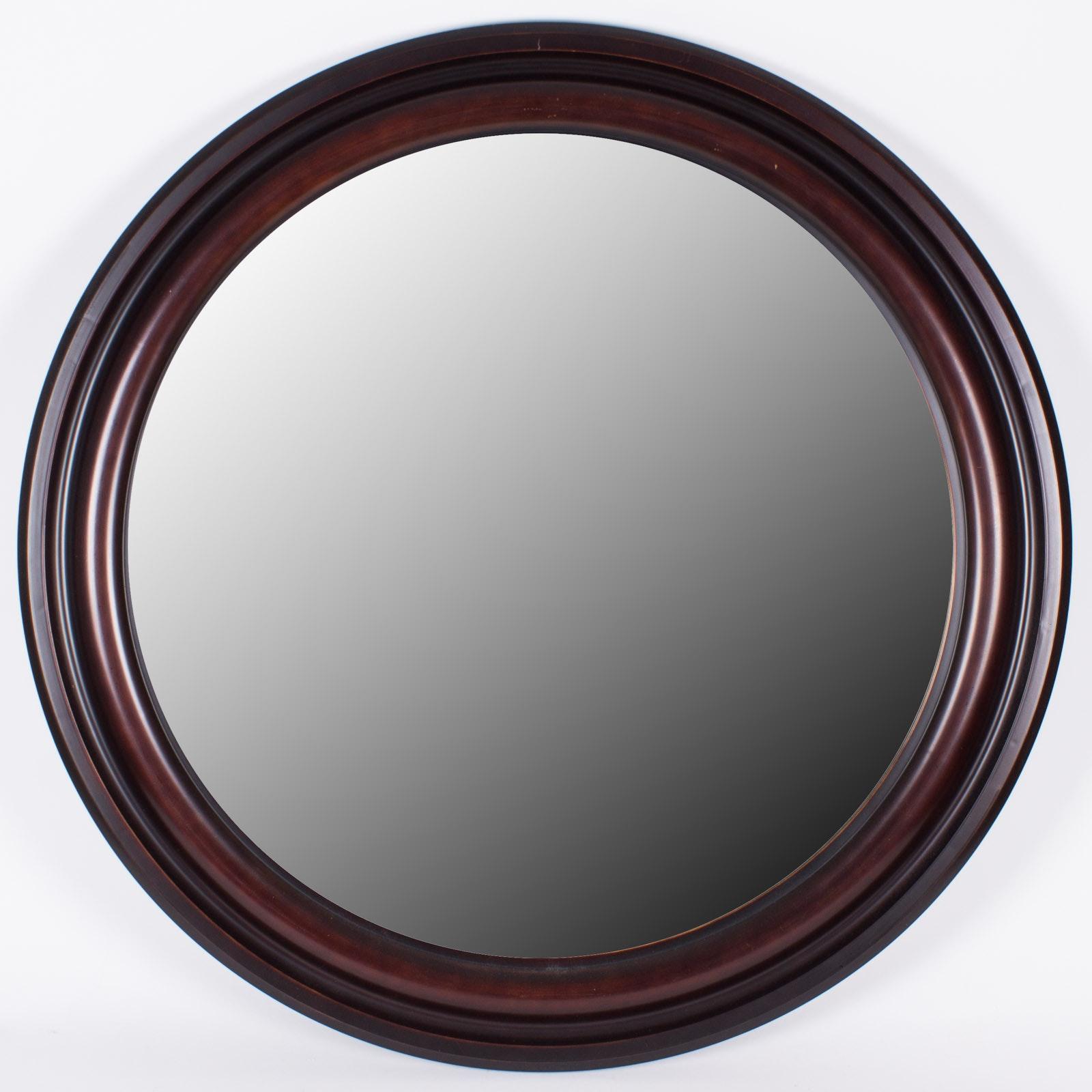 Round Dark Walnut Wall Mirror