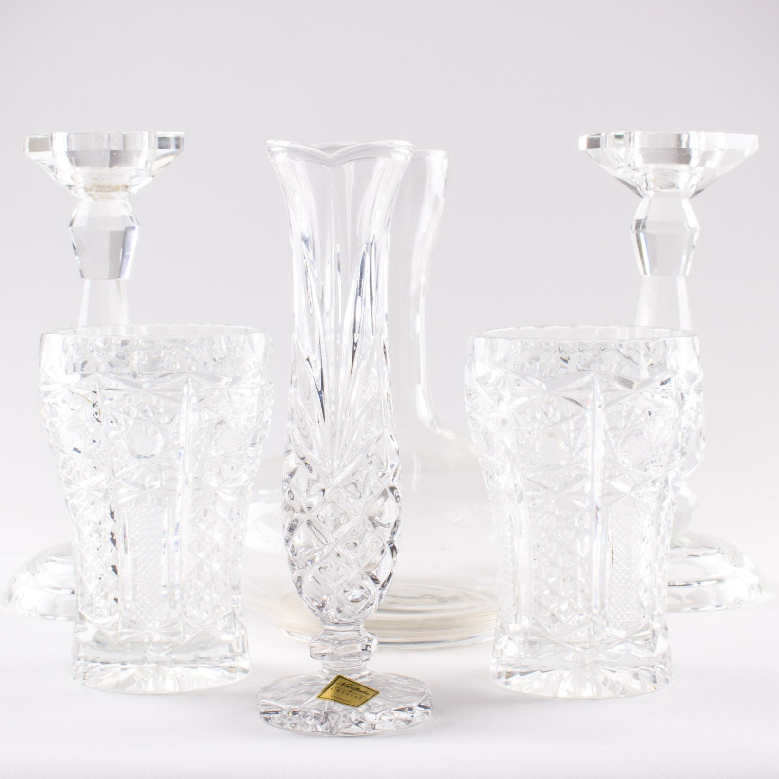 Collection of Glass and Crystal Decor by Noritake, Fara, and More