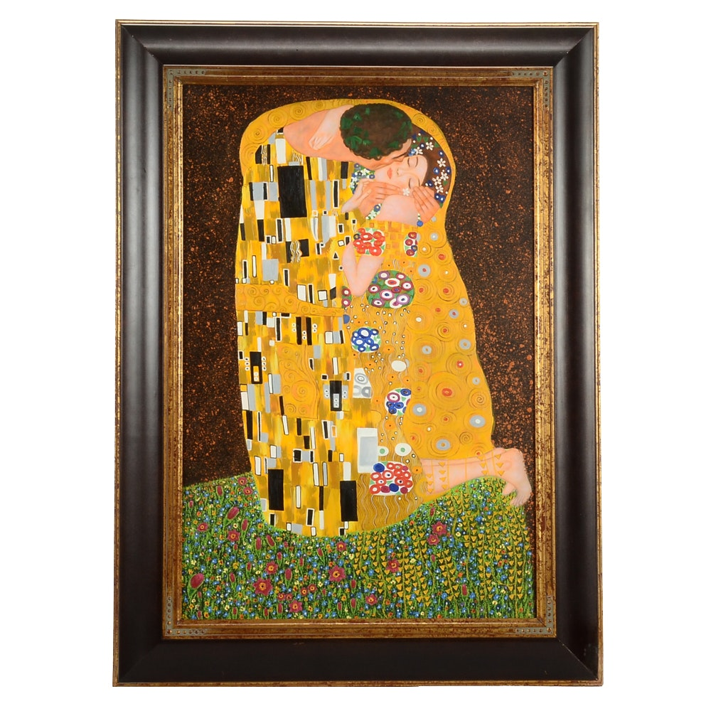 "Oil Copy Painting on Canvas After Gustav Klimt's ""The Kiss"""
